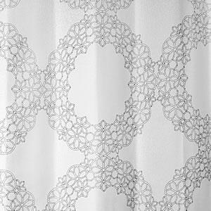 スミノエの北欧風遮光カーテン フラワーリングのホワイト詳細画像