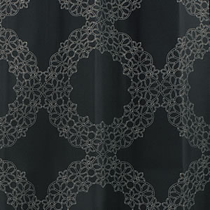 スミノエの北欧風遮光カーテン フラワーリングのブラック詳細画像