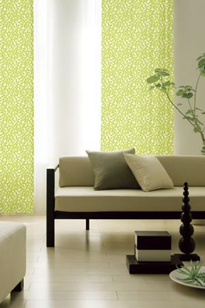 スミノエの北欧風遮光カーテン ペタル グリーンの使用画像
