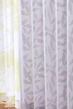 スミノエの北欧風既製カーテン カットリーフ グレー 1枚入【北欧インテリア】の使用画像