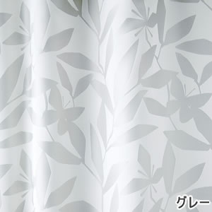 スミノエの北欧風既製カーテン カットリーフのグレー詳細画像