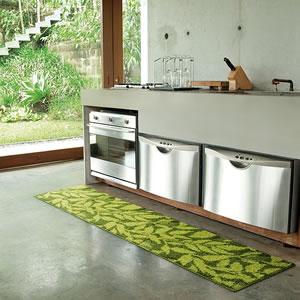 北欧風のスミノエ キッチンマット モダリー グリーンの使用画像1