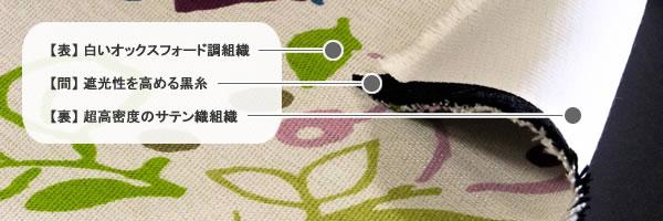 スミノエの遮光カーテン ブロドゥリー(Broderie)1枚入【北欧インテリア/おしゃれ】の3層生地詳細画像