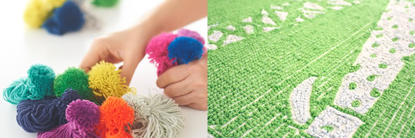 ナイロン素材の染糸とラグマット サンカクドリの詳細画像。