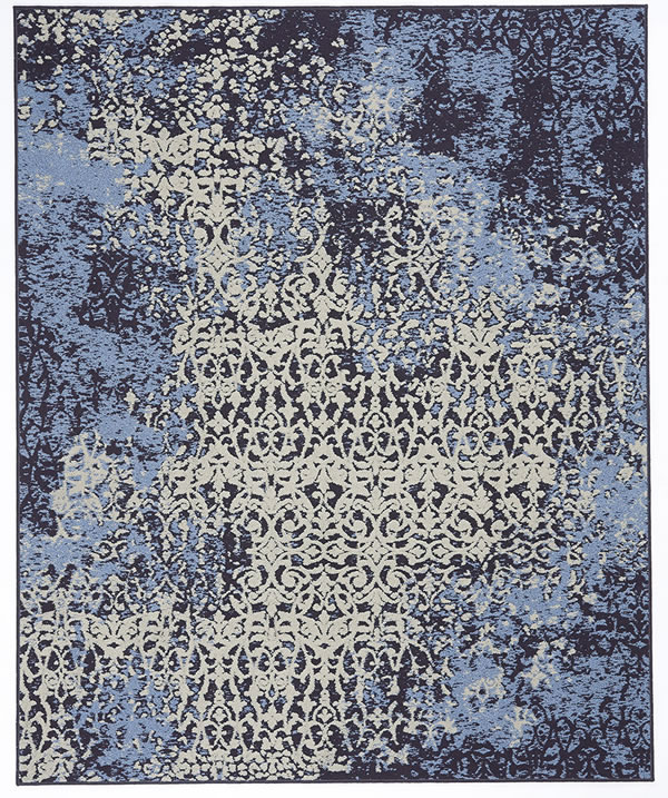 スミノエのラグマット リメイス(REMASED)【おしゃれ/ギャベ風】ブルーの全体画像