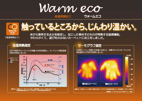 スミノエのラグマット ランドスケープ(LANDSCAPE)【北欧風/おしゃれ】の温度変化の比較グラフ画像