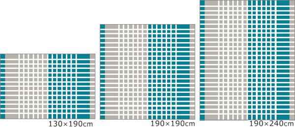 スミノエのラグマット クールスカイ 夏/冬 通年【おしゃれ】の各サイズの画像