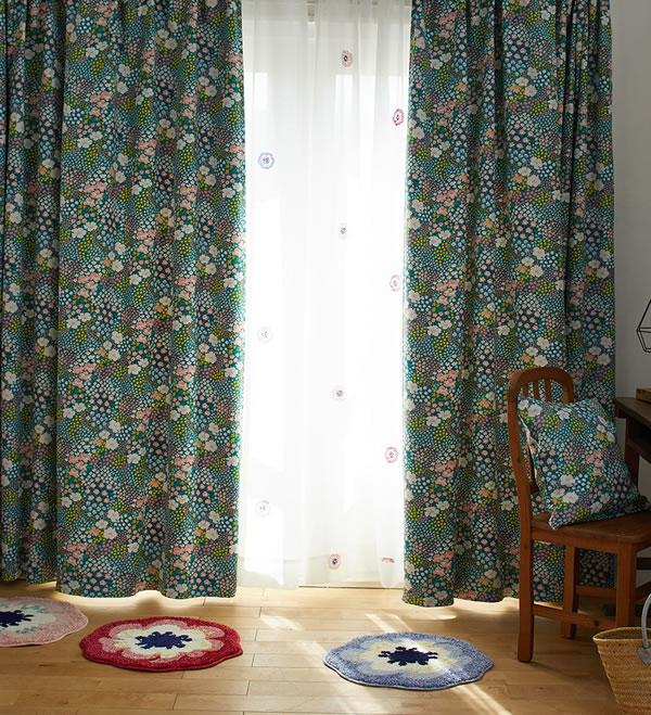 遮光カーテン オハナバタケ(OHANA BATAKE)1枚入【北欧/おしゃれ】ミックスのディスプレイ画像