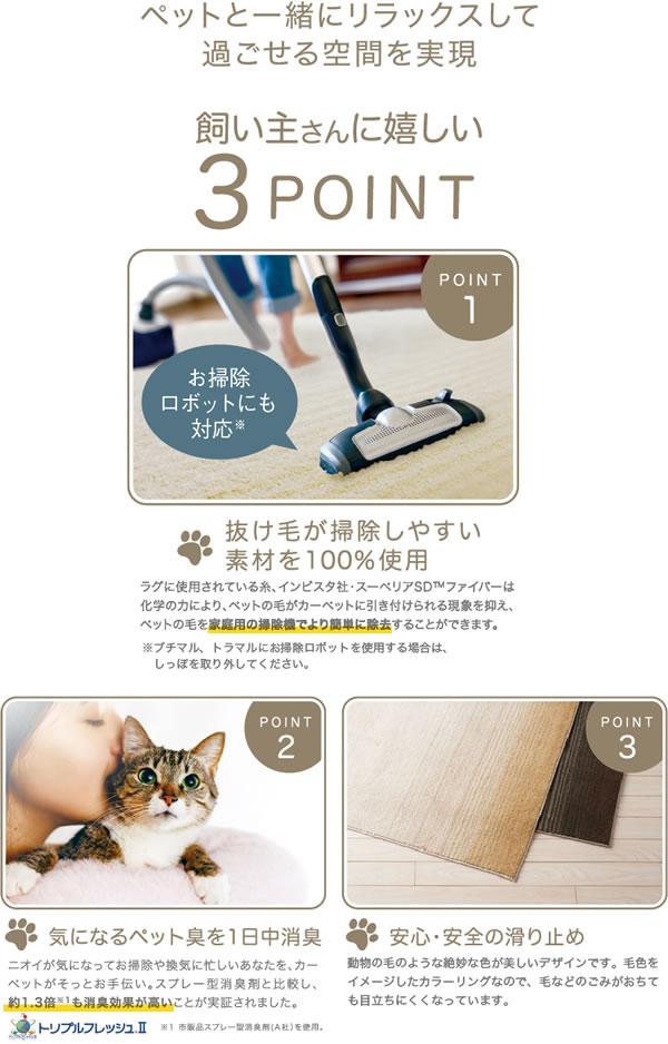 ラグマット トラマル(TORAMARU)【猫/おしゃれ/通年】3つの特長説明画像