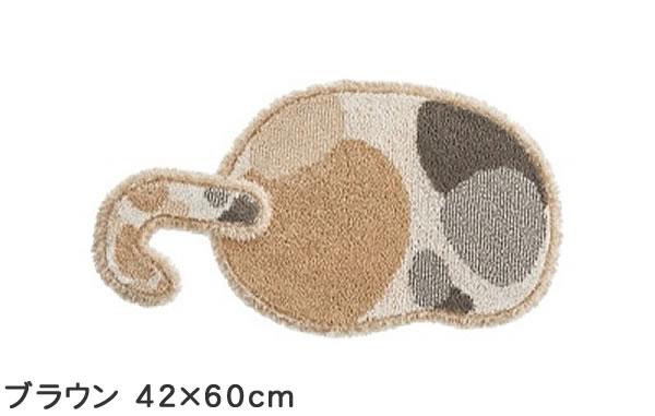 ラグマット ブチマル(BUCHIMARU)【猫/おしゃれ/通年】ブラウン 42×60cmの全体画像
