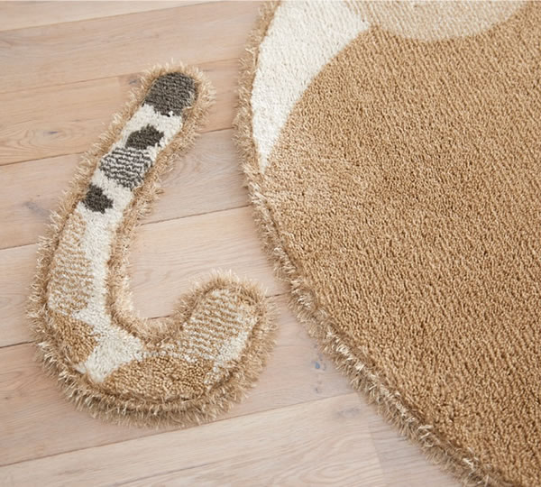 ラグマット ブチマル(BUCHIMARU)【猫/おしゃれ/通年】ブラウンのしっぽ取り外し画像