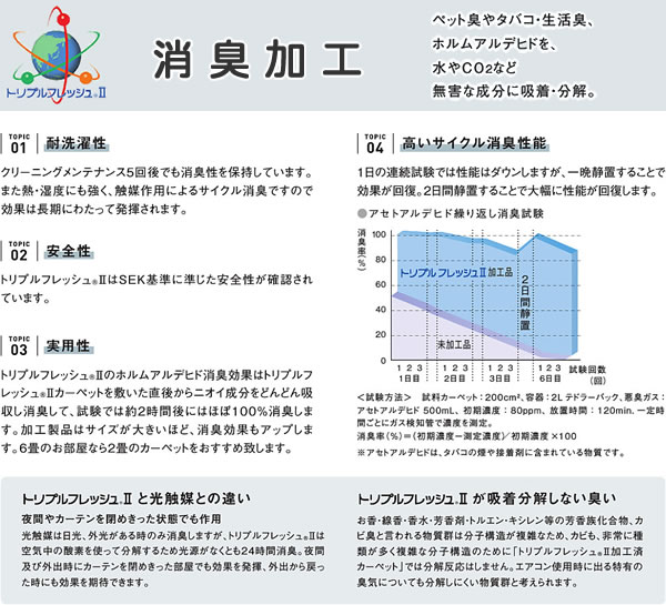 ラグマット トラマル(TORAMARU)【猫/おしゃれ/通年】の消臭加工(トリプルフレッシュ2)説明画像