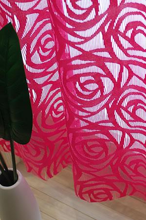 ファニーストリングカーテン ローズ(ROSE)95×176cm【パネルカーテン/北欧風】ピンクの使用画像
