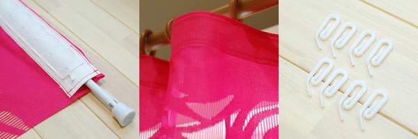 ファニーストリングカーテン ローズ(ROSE)95×176cm【パネルカーテン/北欧風】の付属品と使用例