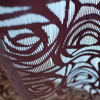 ファニーストリングカーテン ローズ(ROSE)95×176cm【パネルカーテン/北欧風】ブラウンの生地詳細画像