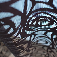 ファニーストリングカーテン ローズ(ROSE)95×176cm【パネルカーテン/北欧風】ブラックの生地詳細画像
