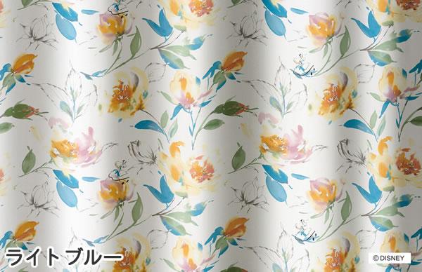 ディズニー 遮光カーテン アリス ローズガーデン 1枚入【おしゃれ/北欧】ライトブルーの詳細画像