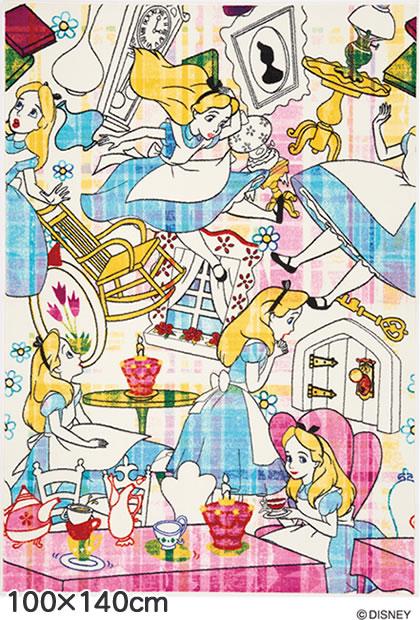 ディズニー ラグマット アリス ストーリー【おしゃれ】100×140cmサイズの全体画像