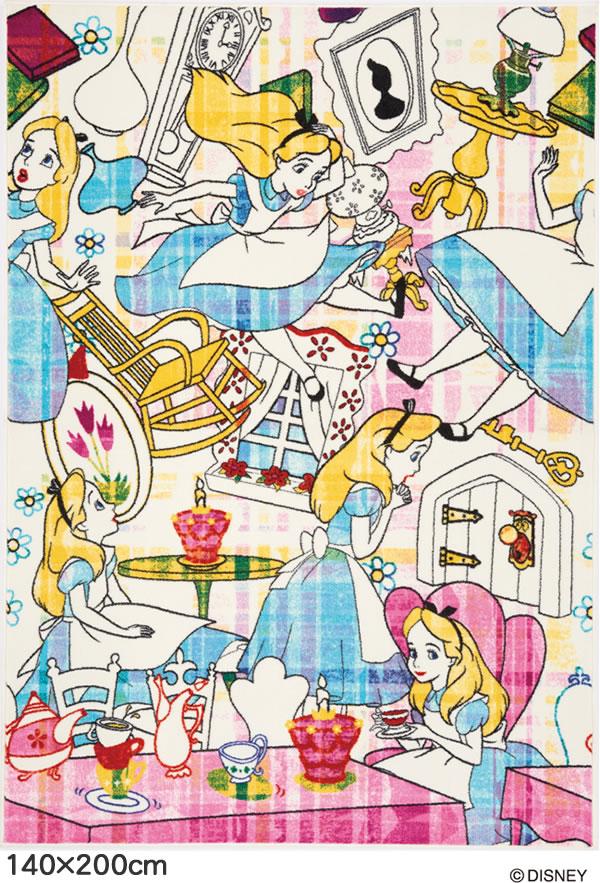 ディズニー ラグマット アリス ストーリー【おしゃれ】140×200cmサイズの全体画像
