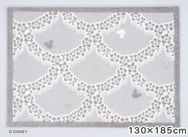 ディズニー ラグマット ミッキー フラワーリース【おしゃれ】130×185cmサイズの全体画像