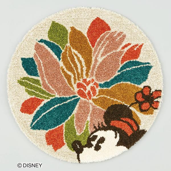 ディズニー ラグマット ミッキー ウィズフラワー【円形ラグ/おしゃれ】90×90cmサイズの全体画像