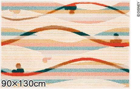ディズニー ラグマット ミッキー キャンディライン【おしゃれ】90×130cmサイズの全体画像