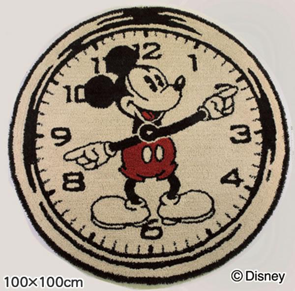 ディズニー ラグマット ミッキー オンザクロックラグ【円形/おしゃれ】の全体画像