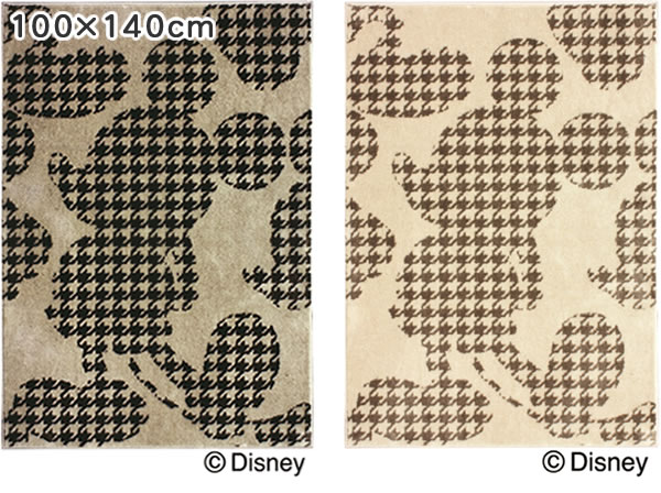 ディズニー ラグマット ミッキー プルオーバーフォームラグ【おしゃれ/北欧】100×140cmの全体画像