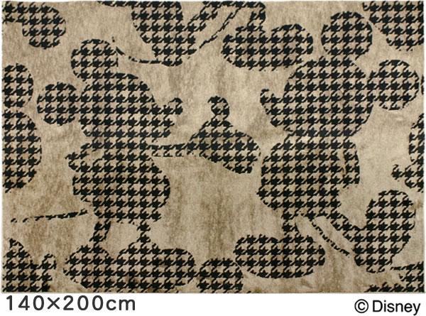 ディズニー ラグマット ミッキー プルオーバーフォームラグ【おしゃれ/北欧】ブラック 140×200cmの全体画像