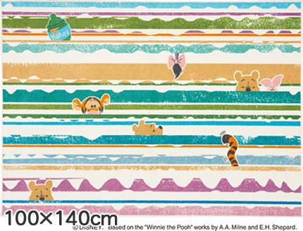 ディズニー ラグマット プー ルックイン【おしゃれ】100×140cmサイズの全体画像