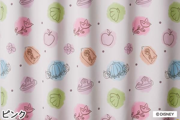 ディズニー 遮光カーテン プリンセス プリンセスチャーム 1枚入【おしゃれ】ピンクの詳細画像