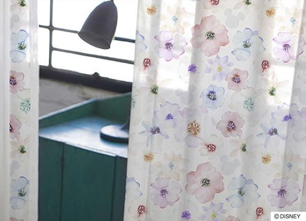 ディズニー レースカーテン ミッキー アロマ 1枚入【おしゃれ/北欧】ホワイトの使用画像
