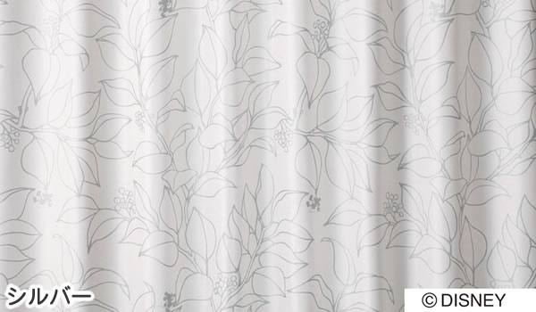 ディズニー 遮光カーテン ミッキー スリップリーフ 1枚入【おしゃれ/北欧】シルバーの詳細画像
