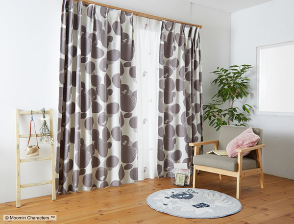 遮光カーテン ムーミン ロックパターン 1枚入【北欧/フィンランド】ダークグレーの使用画像