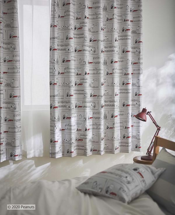 スヌーピー 遮光カーテン  シュローダー&ピアノ 1枚入【PEANUTS(ピーナッツ)】グレーの使用画像