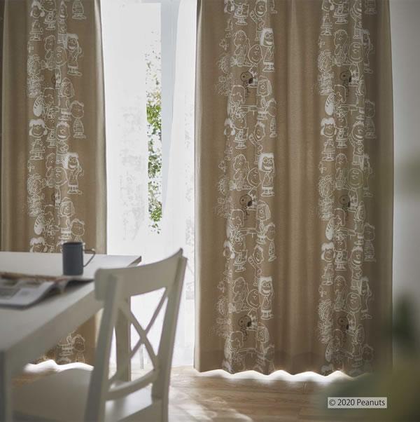 スヌーピー 遮光カーテン ミーティング 1枚入【PEANUTS(ピーナッツ)】ベージュの使用画像