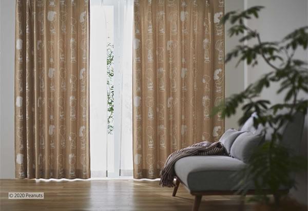スヌーピー 遮光カーテン チケットオフィス 1枚入【PEANUTS(ピーナッツ)】ベージュの使用画像