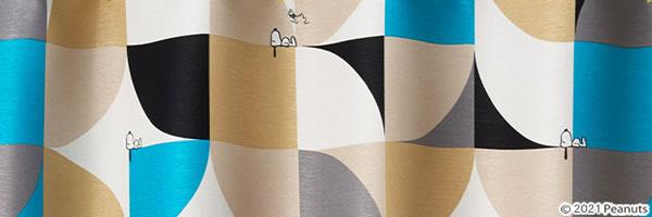 スヌーピー 遮光カーテン スリーピースヌーピー 1枚入【PEANUTS(ピーナッツ)】ブルーの詳細画像
