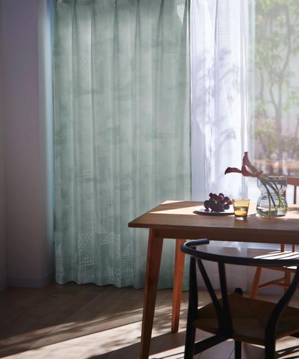 サーナ・ヤ・オッリ カーテン セブンピースズ 1枚入【北欧デザイン】グリーンの使用画像