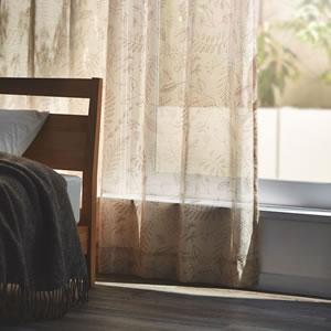 サーナ・ヤ・オッリ レースカーテン ブロッサム ボイル 1枚入【北欧デザイン】ベージュの詳細画像
