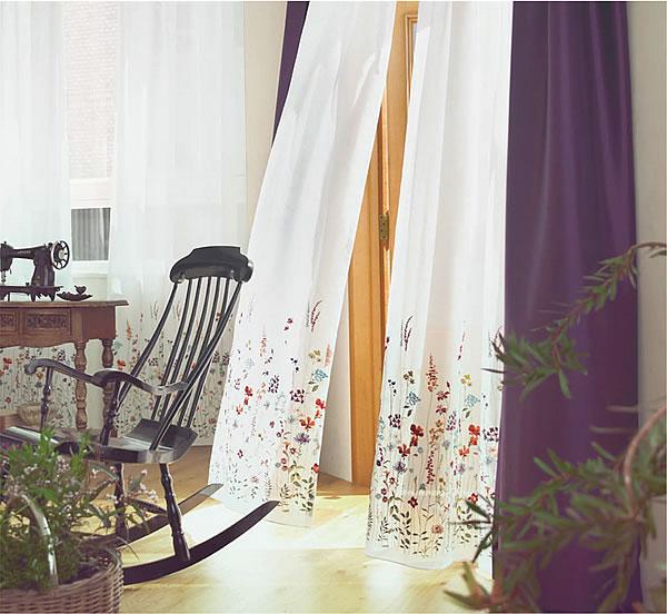 レースカーテン 刺繍 U-8008・8009 1枚入【おしゃれ/UV/省エネ】イエローの使用画像