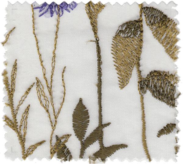 レースカーテン 刺繍 U-8008・8009 1枚入【おしゃれ/UV/省エネ】ブラウンの全体画像