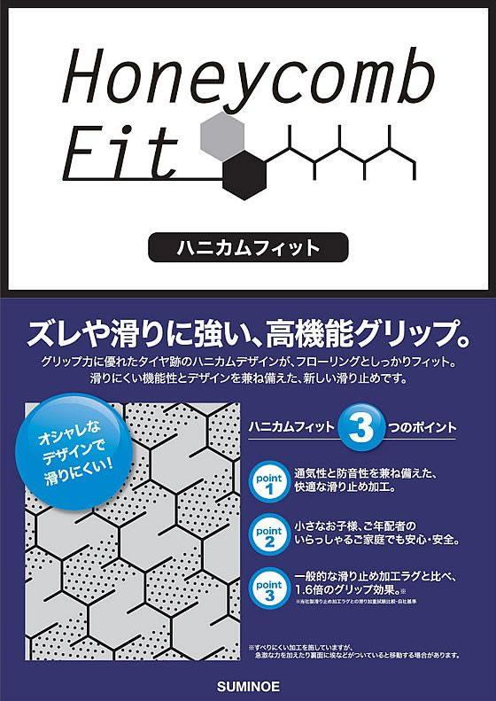 ラグマット ミッドスタイル(Mid-Style)【おしゃれ/北欧】のハニカムフィット機能説明画像