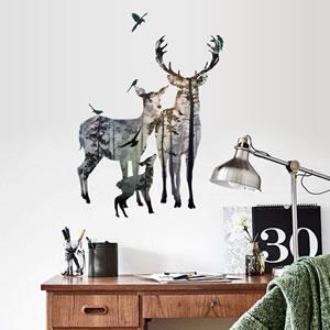 ウォールステッカー 鹿と大自然 TMR【北欧インテリア】の使用画像3