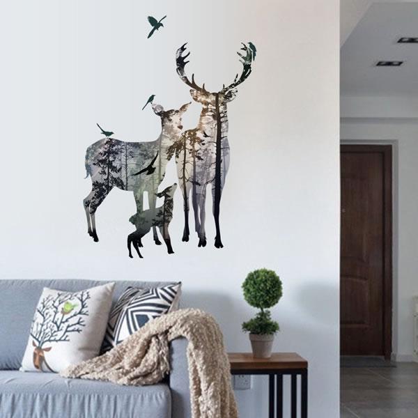 ウォールステッカー 鹿と大自然 TMR【北欧インテリア】の使用画像1