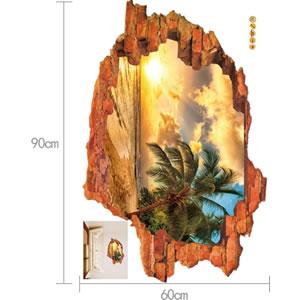 ウォールステッカー 壁の向こうは南国 TMR【北欧インテリア】の詳細寸法画像