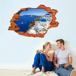 ウォールステッカー 壁の向こうはサントリーニ島 TMR【北欧インテリア】の使用画像3