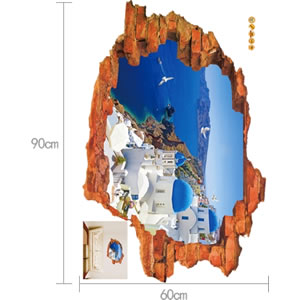 ウォールステッカー 壁の向こうはサントリーニ島 TMR【北欧インテリア】の詳細寸法画像