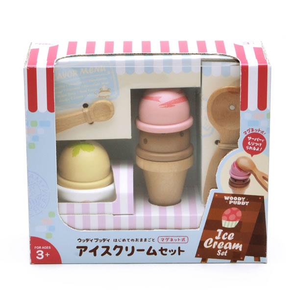 ウッディプッディ はじめてのおままごと アイスクリームセット【おもちゃ/キッズ/ギフト】のパッケージ画像
