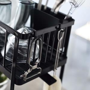 ツーウェイ水切りワイヤーバスケット 2段 タワー【キッチン収納/おしゃれ】ブラックの使用画像